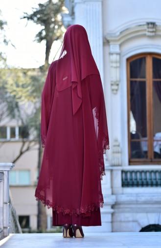 Abendkleid mit Umhang    4476-01 Weinrot 4476-01