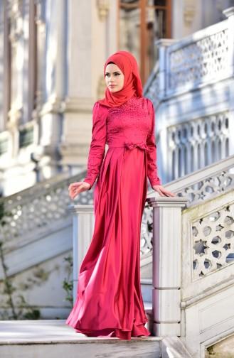 Abendkleid mit Swarovski Steindetail  4473-03 Fuchsia 4473-03