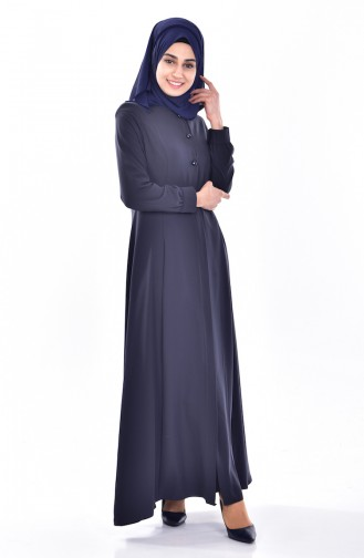 Abaya a Boutons 1112-02 Bleu Marine 1112-02