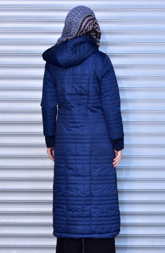 SUKRAN Hooded Quilted Coat 35780A-02 Navy Blue 35780A-02