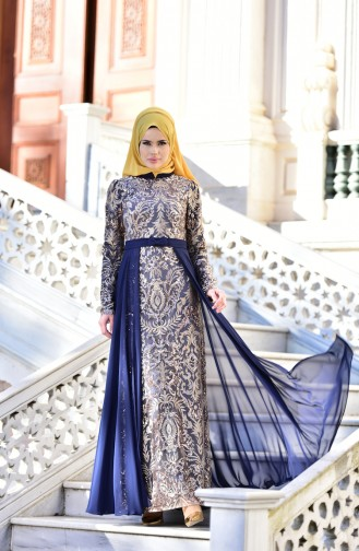 Navy Blue Islamic Clothing Evening Dress 441488-04