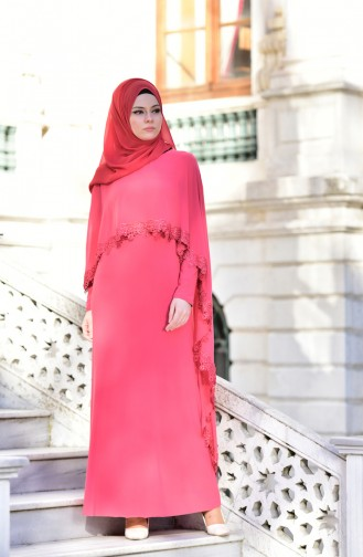 Coral Islamic Clothing Evening Dress 4476-04