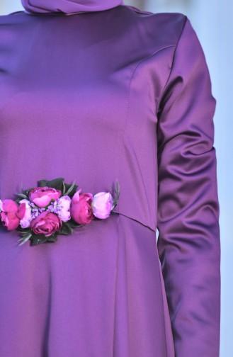 Robe de Soirée Détail Fleurs 5406-04 Pourpre 5406-04
