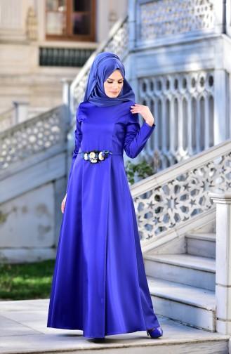 Robe de Soirée Détail Fleurs 5406-03 Bleu Roi 5406-03