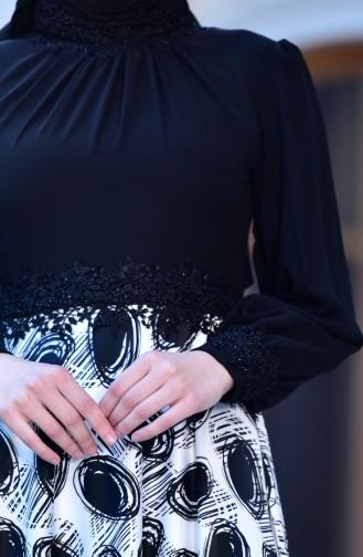 Robe de Soirée a Dentelle 4411B-01 Noir 4411B-01