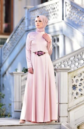 Abendkleid mit Blumendetail 5406-02 Lachs 5406-02