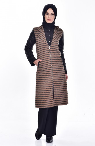 Quilted Coat 0407-01 Coffee 0407-01