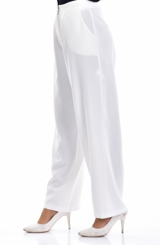 Pantalon Large avec Poches 3841-06 Blanc 3841-06