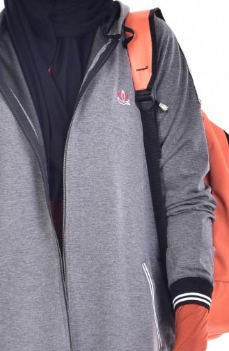 بدلة رياضية بتصميم سحاب 5000-05لون اسود مائل للرمادي 5000-05