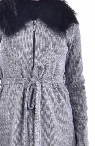 Pelz Cape mit Reißverschluss  1004-02 Grau 1004-02