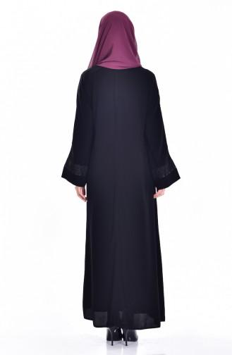 Ensemble Deux Pieces Robe Abaya 7752-01 Noir Beige 7752-01