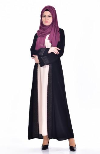 Ensemble Deux Pieces Robe Abaya 7752-02 Noir Brun 7752-02