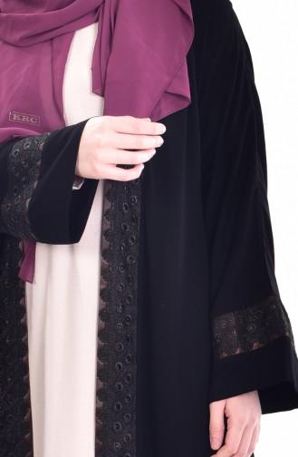 طقم من فستان وعباءة 7752-02 لون أسود وبني 7752-02