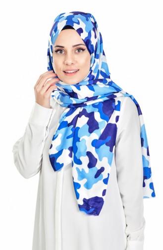 Châle a Motifs Camouflage 95062-02 Bleu 02