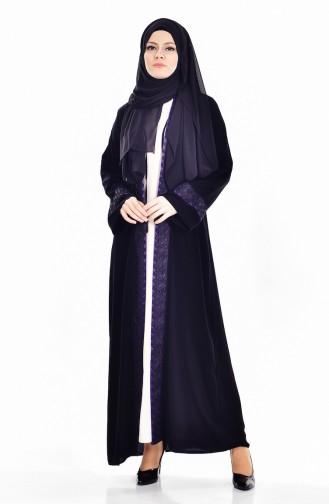 Ensemble Deux Pieces Robe Abaya 7752-03 Noir Pourpre 7752-03