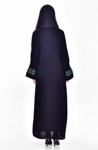 طقم من فستان وعباءة7752-04 لون أسود وأخضر زمردي 7752-04