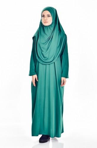 Sefamerve Büyük Beden Çantalı Pratik Namaz Elbisesi 0900B-04 Zümrüt Yeşil 0900B-04