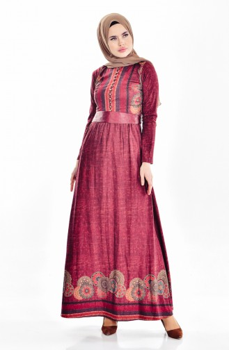 Robe a Motifs 7466-01 Bordeaux 7466-01