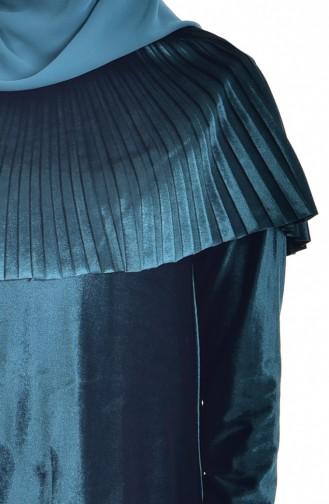 Pelerinli Kadife Elbise 1925-02 Zümrüt Yeşili