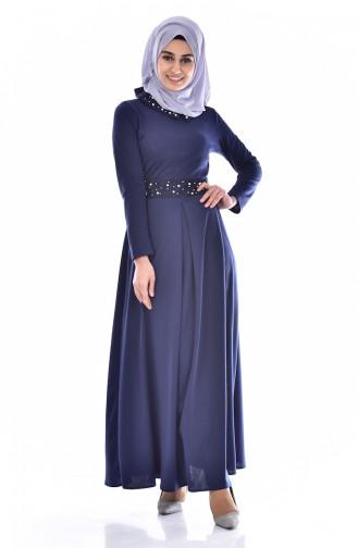 Navy Blue İslamitische Jurk 0035-02