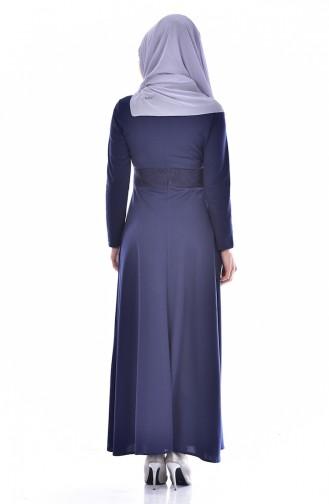 فستان بتصميم سادة مع تفاصيل من اللؤلؤ  0035-02
