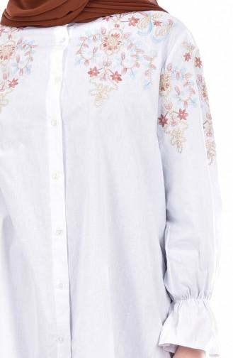 İşlemeli Düğmeli Gömlek 61018-01 Beyaz