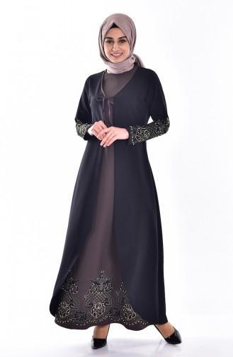 Robe Bordée de Pierre 1860-06 Noire Khaki 1860-06