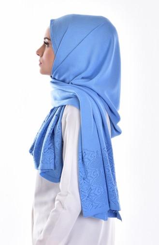 Châle Tricot avec Perles 70054-09 Bleu 09