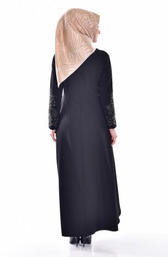 Stein Besticktes Kleid 1860-03 Schwarz Saks 1860-03