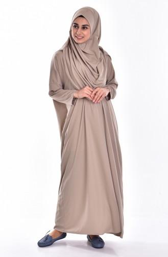 صفامروة فستان صلاة بتصميم عملي وحقيبة 0900-06 لون بني مائل للرمادي 0900-06