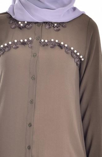 Tunique Asymétrique avec Perles 3038-04 Khaki 3038-04
