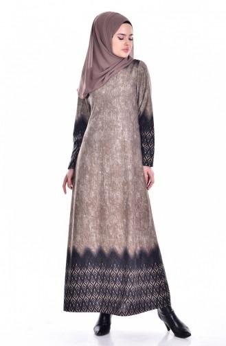 Otantik Desen Elbise 5102-01 Vizon