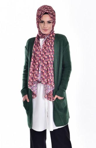 Strickjacke mit Tasche 2010-02 Smaragdgrün 2010-02