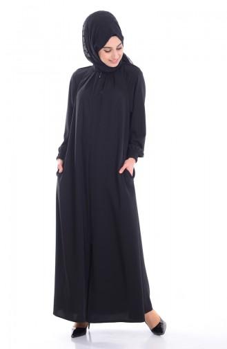 Fermuarlı Ferace 3019-01 Siyah