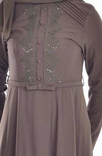 Robe Bordée a Ceinture 1003-05 Khaki 1003-05