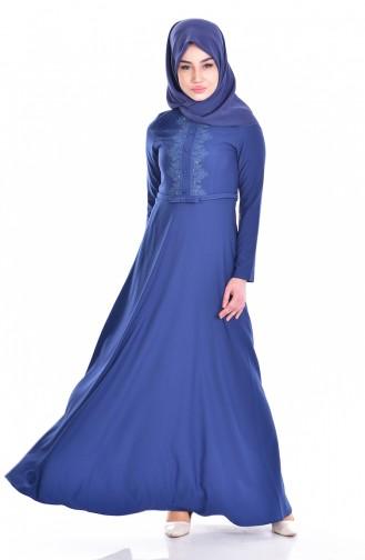 Hijab Kleid mit Gürtel 1003-02 İndigo 1003-02