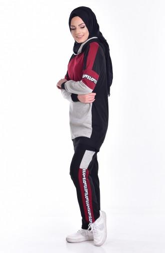 بدلة رياضية موصولة بقبعة 0748-01 لون اسود وخمري 0748-01