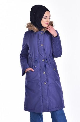 Hooded Fur Coat 6450-01 Indigo 6450-01