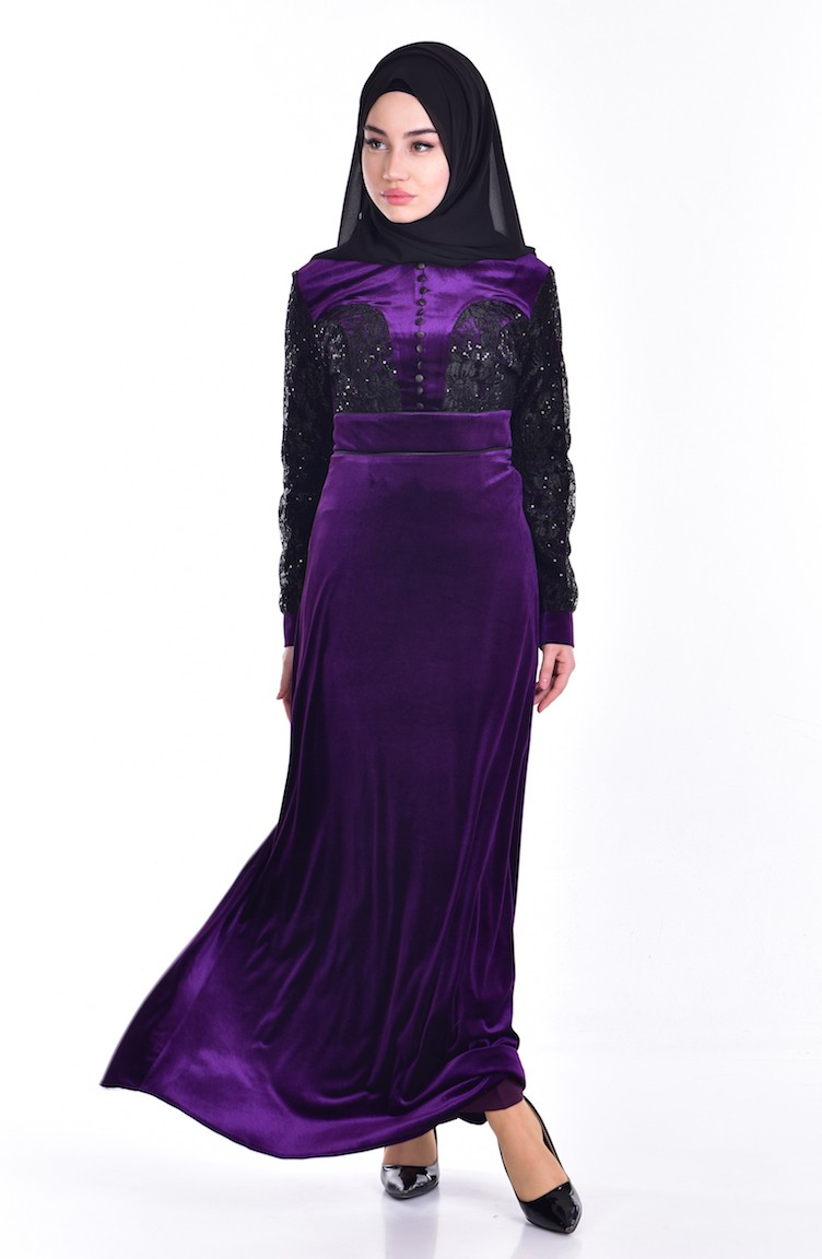 4ad47fa7e فستان مخمل بتفاصيل من الدانيل والترتر 7867-01