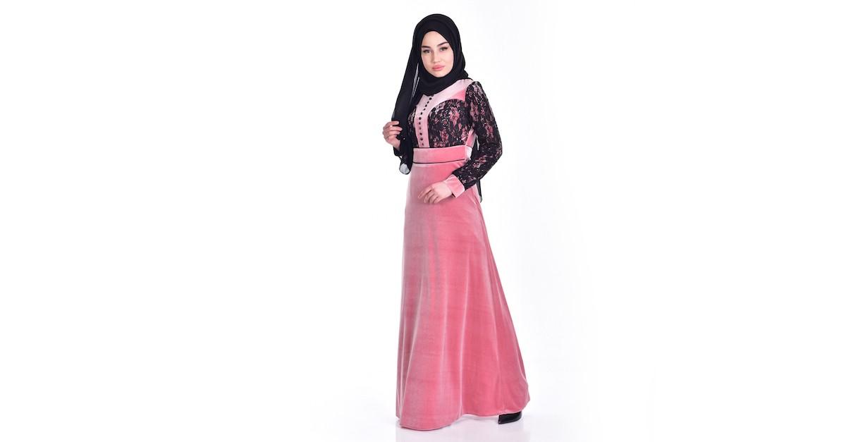 1a21b0612 فستان مخمل بتفاصيل من الدانيل والترتر 7867-04