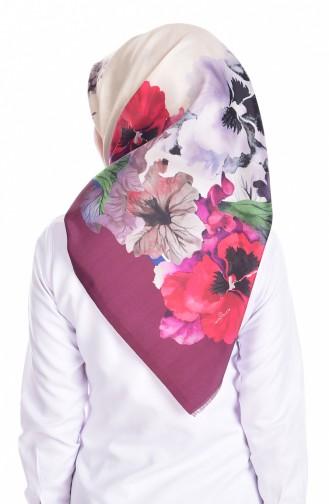 Çiçek Baskılı Tafta Eşarp 95005-06 Bordo Ekru