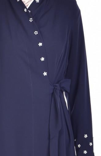 Abaya mit Perlen 7337-01 Dunkelblau 7337-01