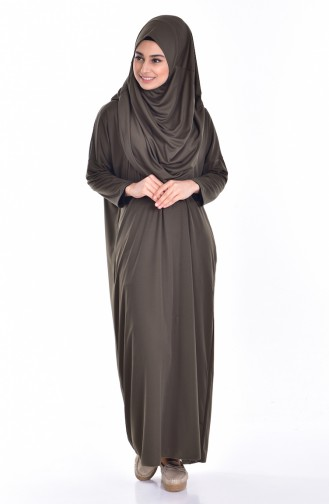 Sefamerve Large Size Practical Prayer Dress With Bag 0900B-07 Khaki Green 0900B-07