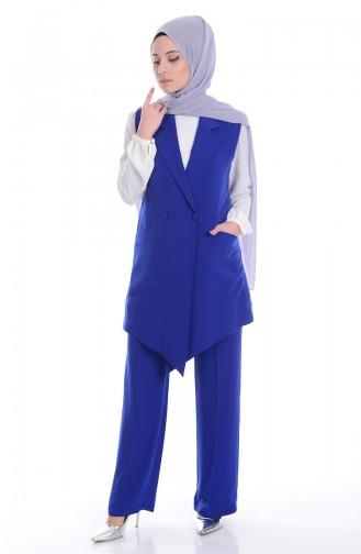 Ensemble Deux Pieces Gilet Pantalon 0006-01 Bleu Roi 0006-01