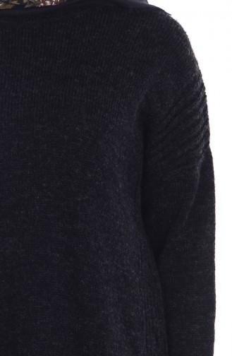 Asymmetrischer Pullover 4033-01 Schwarz 4033-01