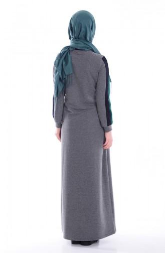 Nakış Detaylı Elbise 1623-02 Yeşil