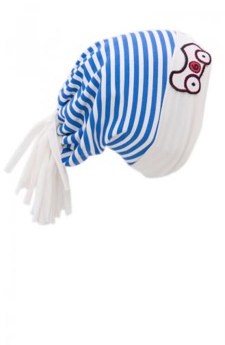 Penye Çizgili Şapka NS37 Ekru Saks
