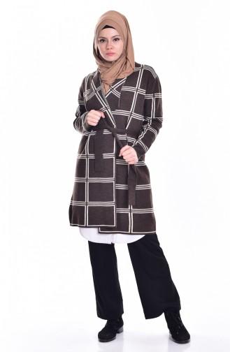 Striped Knitwear Cardigan 26321-02 Brown 26321-02