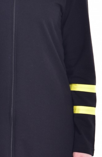 Zippered Tracksuit Suit 18050-12 Black Yellow 18050-12