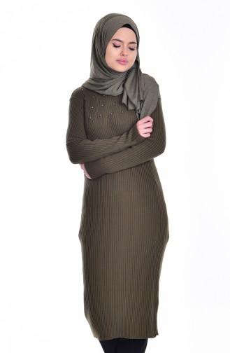 Longue Tunique avec Perles 27654-01 Khaki 27654-01